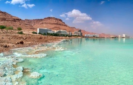 Dead Sea coast. Hotels and Spa centers. Israel. Panorama