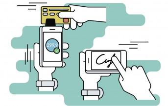 Mobile acquiring with signature via smartphone. Flat line contour illustration of payment via smartphone app