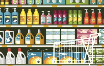 supermarket-with-cleaning-product-packaging-vector-id455429547