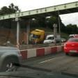 Фура протаранила опору пешеходного моста на Ярославском шоссе