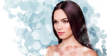 Wellbeing and wellness beauty and health concept. Coseup photo pretty she her young brunette woman looking fresh healthy attractive isolated grey white blue background.