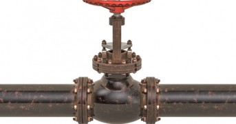Rusty pipeline with valve. 3D rendering isolated on white background