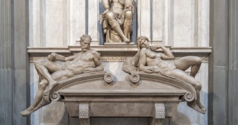 The tomb of Lorenzo, Duke  of Urbino, grandson of Lorenzo the Magnificent was sculped by Michalengelo in 1531-1532 during his last days in Florence. The figures below on the sarcophagus are allegorical figures represeenting Dawn (on our right) and Dusk (on our left)