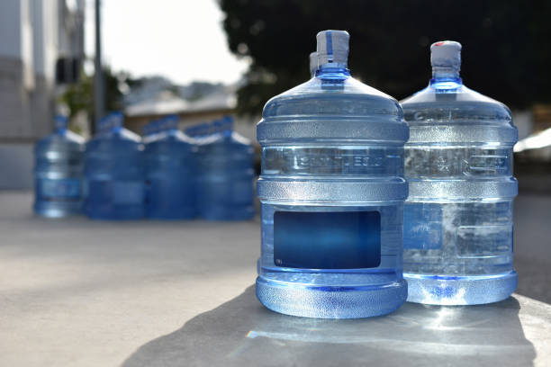 Plastic bottles on 19 liters is full natural spring water in outdoor