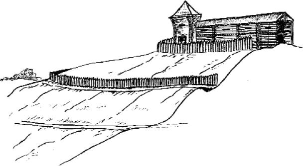 Радонежский детинец XIV век. Юго-западная стена. Реконструкция В.И. Вишневского.