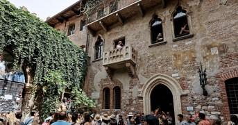 Верона, стена и балкон Джульетты